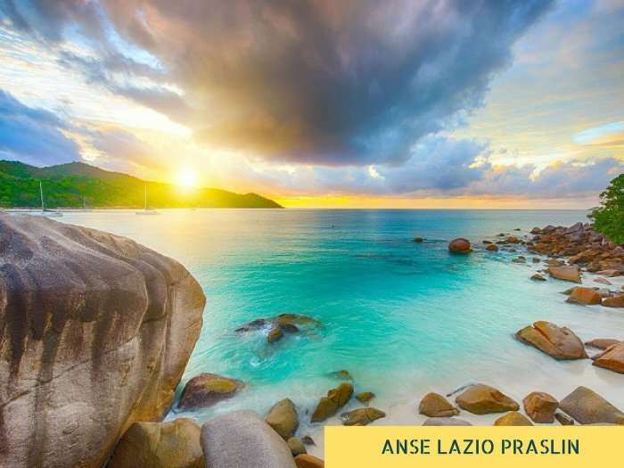 A gorgeous view of the Anse Lazio beach in Praslin