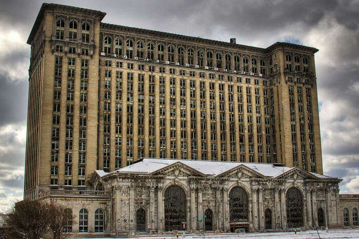 The grand building of the abandoned Michigan Central Station in Detroit