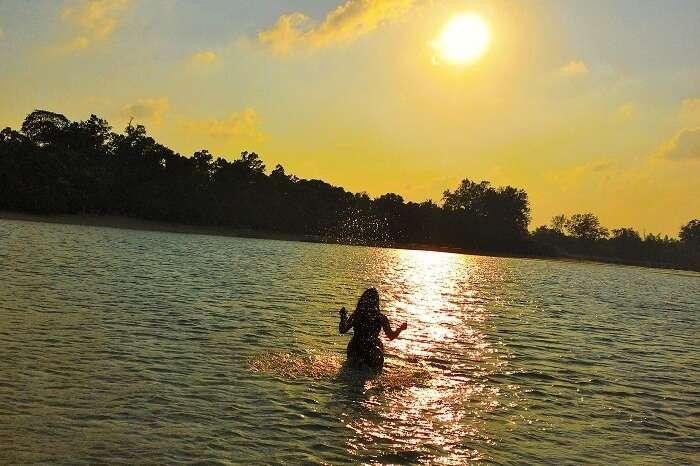 Traveler enjoying at the beach in Andaman