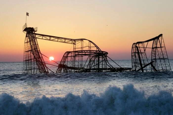 A sunset shot of the abandoned Jet Star Rollercoaster at Seaside Heights in New Jersey