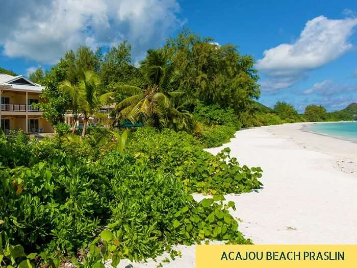 A view of the Acajou Beach Resort with beach on Praslin Island