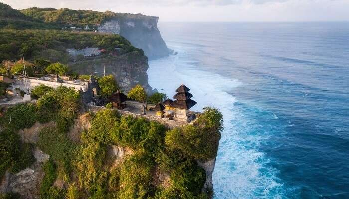 Aerial view of Pura Luhur Uluwatu temple