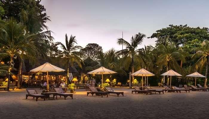 Poolside cabanas in Sanur, Bali