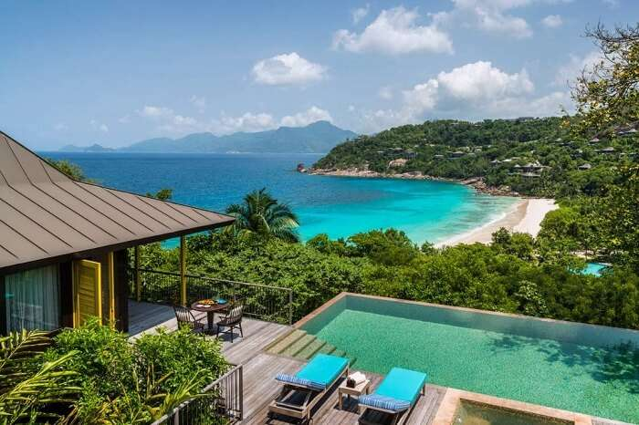 An aerial shot of the infinity pool at the Four Seasons Resort in Seychelles