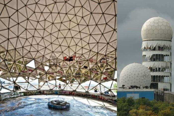 Shots of the interior and the exterior of the Teufelsberg in Germany