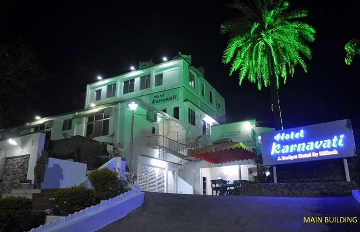 A view of the main building at the Hotel Karnavati