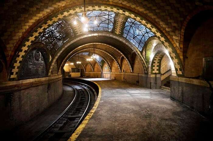 The spooky-looking and abandoned City Hall Subway Stop in New York