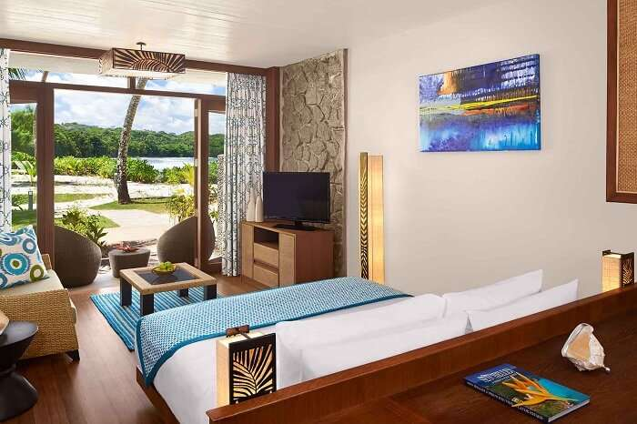 A beachfront room at the Avani Resort in Seychelles