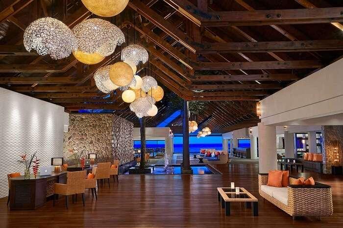 The main lobby of the Avani Resort in Seychelles