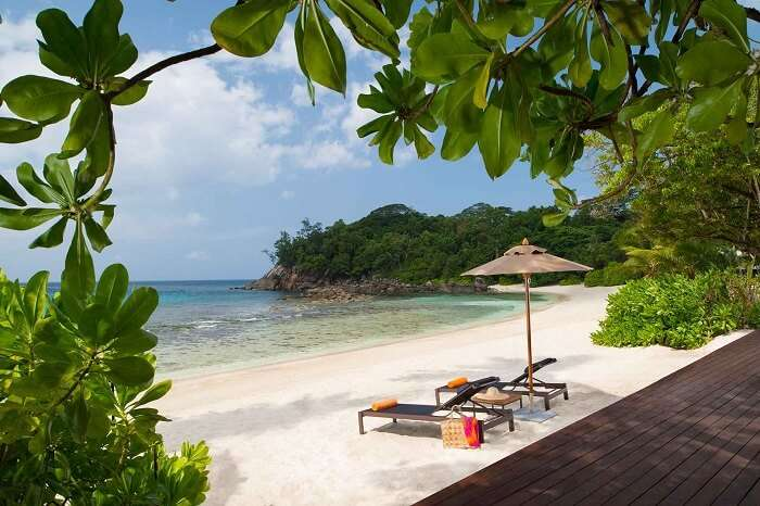 The private beach at the Avani Resort in Seychelles