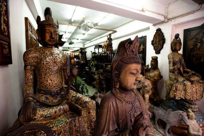 Several precious antiques at a store on Hollywood Road in Hong Kong