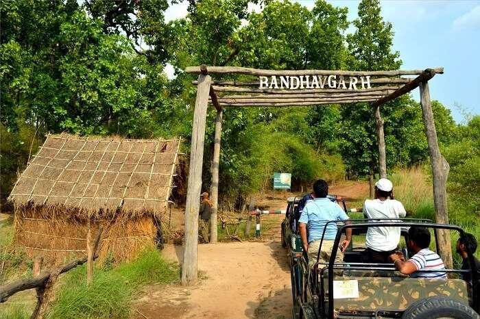 Tourists ready to begin their jeep safari through the Bandhavgarh National Park