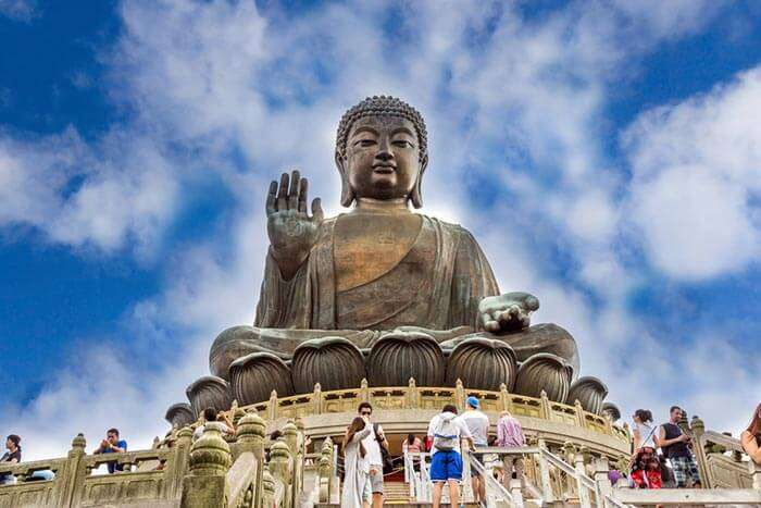 The Big Buddha statue near Po Lin Monastery in Hong Kong