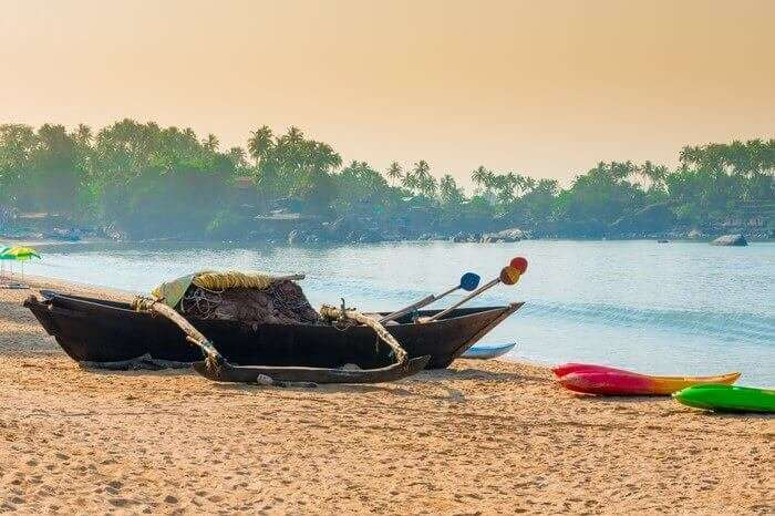 Boat at the shore of Butterfly Beach in South Goa