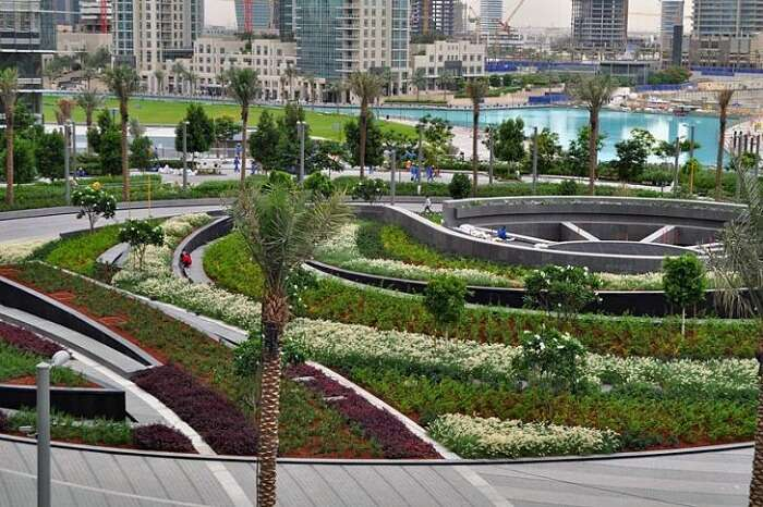 The beautiful Burj Khalifa Tower Park surrounding the tower