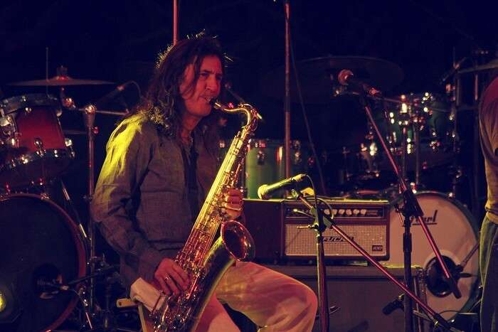 An artist performing at the Delhi Jazz fest