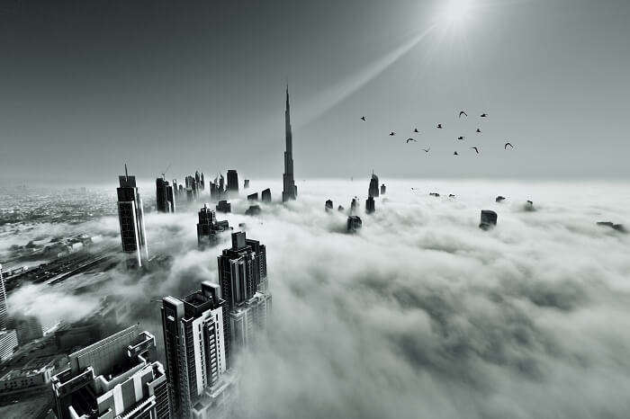 A snap of the Downtown Dubai covered by early morning fog