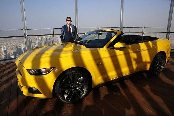 Ford executive chairman Bill Ford with the Ford Mustang at the 112th floor of Burj Khalifa in Dubai