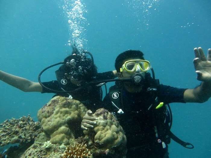 Ranjeet and his wife doing scuba diving in Maldives