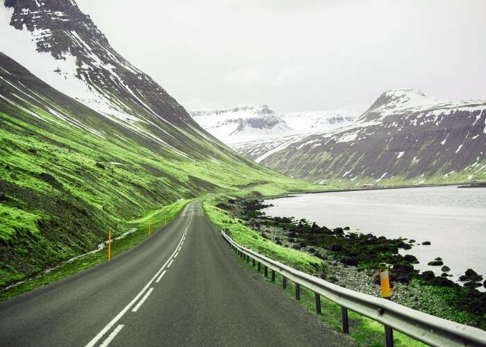 Picturesque highway in Iceland
