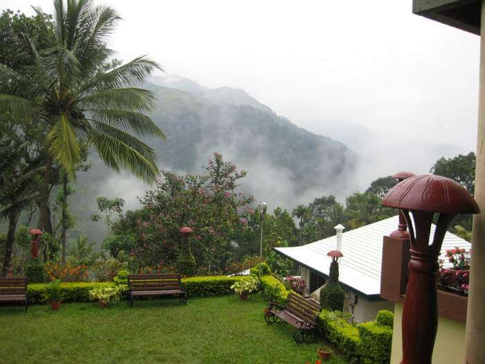 A misty view of the Igloo resort in Munnar