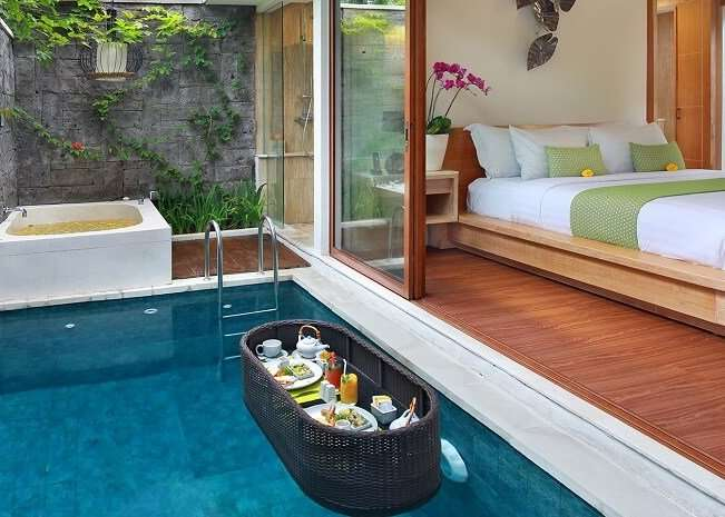 magnificent private pool in ini vie villa with floating breakfast