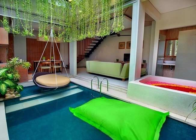 magnificent private pool in ini vie villa with swing and flower bathtub