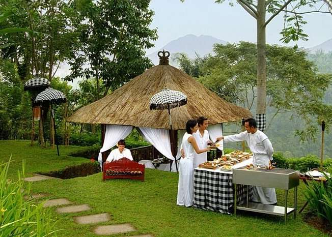 dining area and open buffet arrangement in Kayumanis Ubud Private Villas & Spa