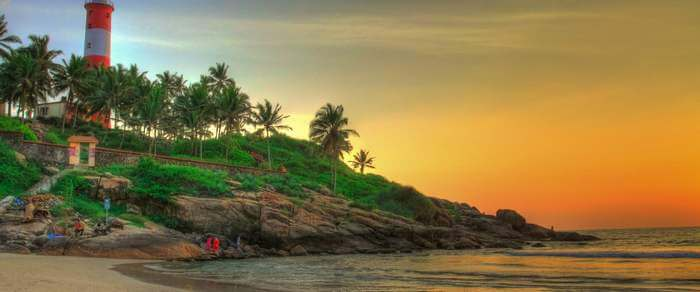 The lighthouse beach of Kovalam – one of the most popular tourist attractions in Kerala