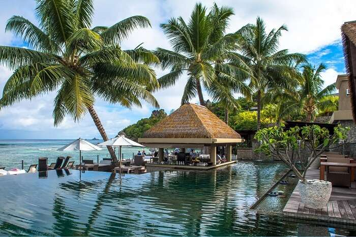 The infinity pool of the Le Domaine de L Orangeraie resort in Seychelles