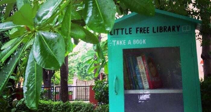 Little free library in Sarita Vihar in Delhi