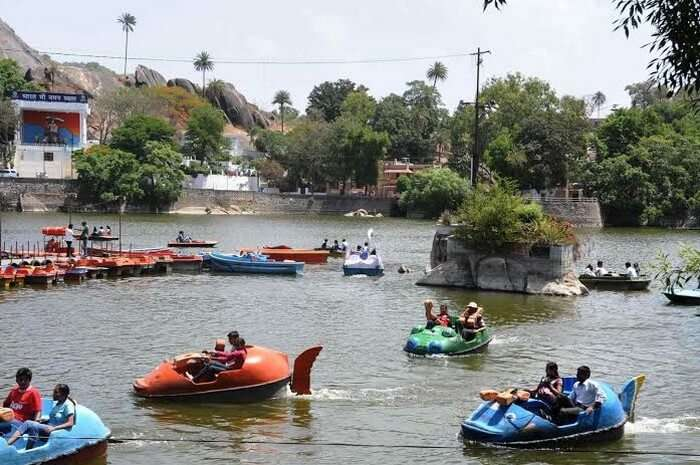 Boat race competition being held at the Nakki Lake in the Summer Festival in Mount Abu