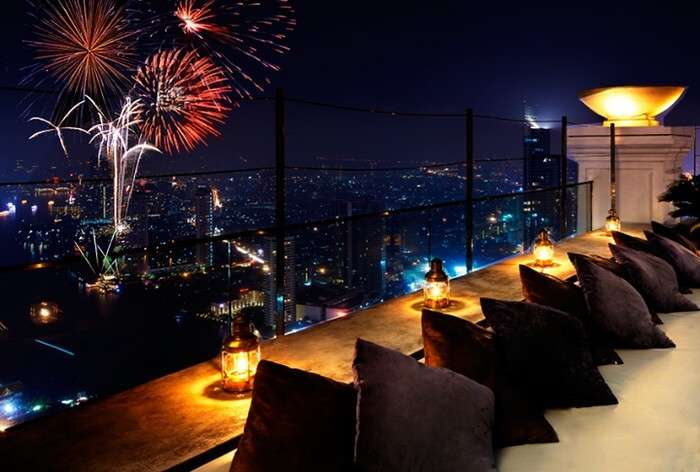 The mesmerising view of the skyline from a rooftop in Thailand during new year's celebration