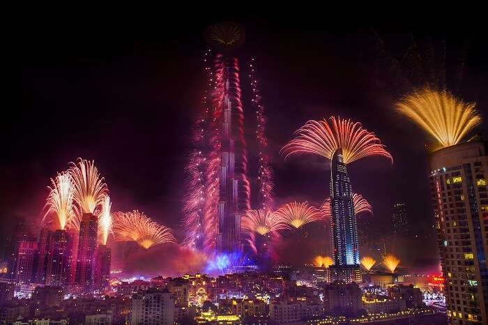 Colorful fireworks on display on the occasion of New Year at Burj Khalifa
