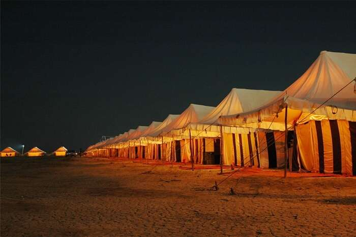 Night shot of Rann Utsav in Kutch Gujarat