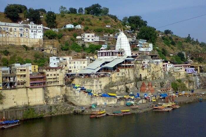 The riverside ghat at Omkareshwar in Madhya Pradesh