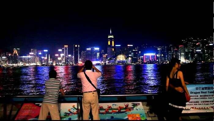 Travelers on board Seafood Village Cruise enjoying the nightlife in Hong Kong