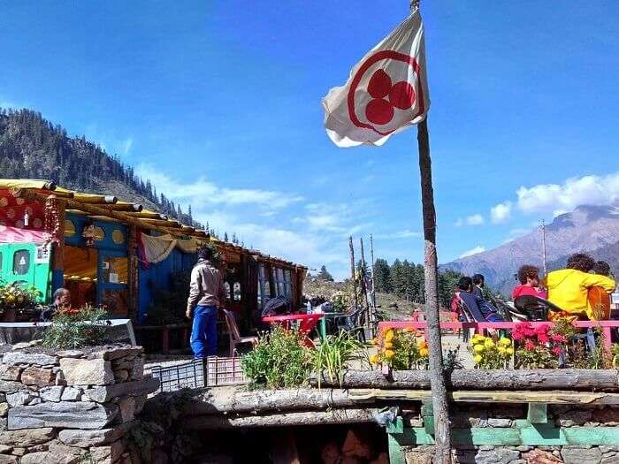 Colorful Shiva Cafe at Kheer Ganga
