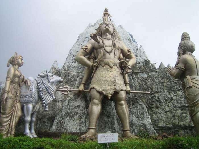The towering idols of Lord Shiva and his disciples at Shiva Templ