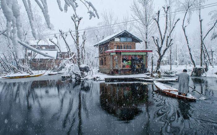 Dal Lake during snowfall in Kashmir