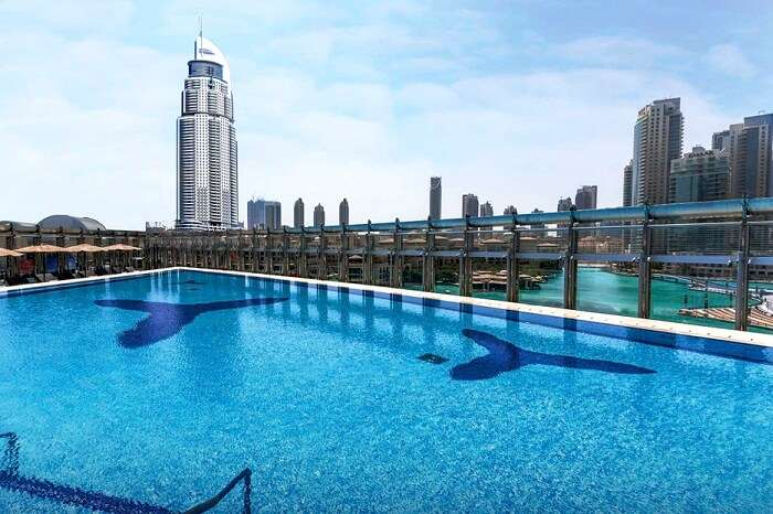 A beautiful pool on a higher level at Burj Khalifa