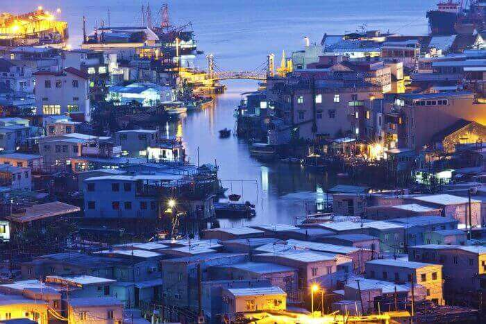 The famous and traditional Tai O Fishing Village in Hong Kong
