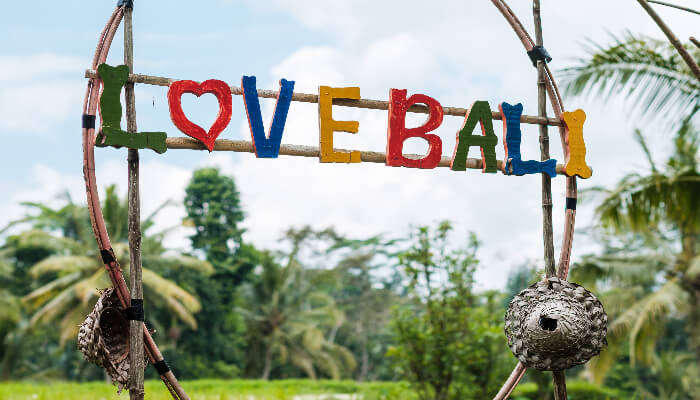 Love Bali sign