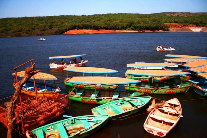Colorful boats docked at Venna Lake which is the most popular tourist place in Mahabaleshwar