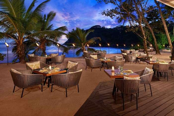 The Tamarind terrace restaurant at the Avani resort in Seychelles