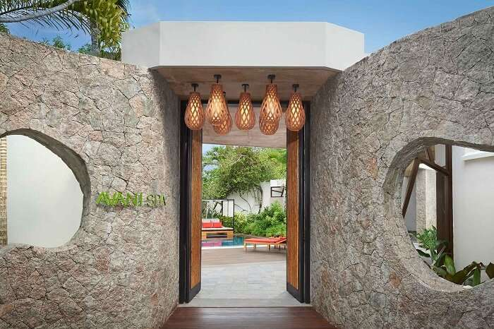 The entrance of the spa at Avani Resort in Seychelles