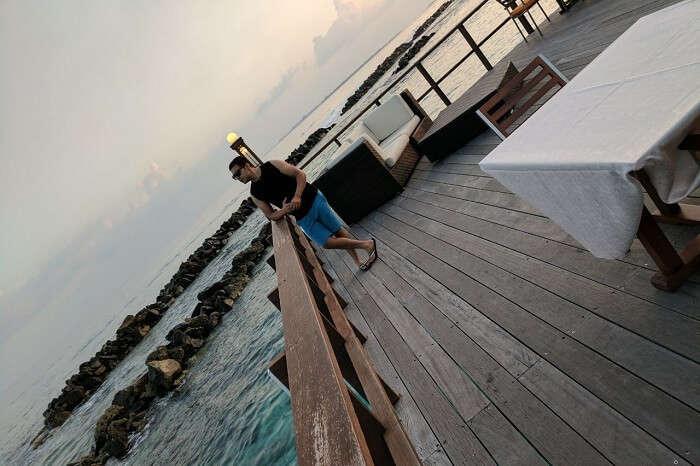 man enjoying ocean view