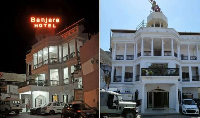 The entrance of the Banjara Hotel at night and in day