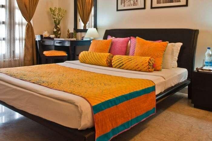 A simple but pretty room at the Colonels Retreat in Delhi