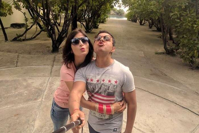 couple enjoy clicking selfie together